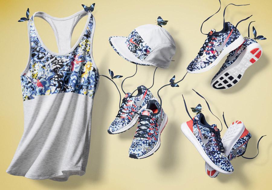 Nike Jungle Pack — běžecké oblečení, barevné — dámské běžecké boty, tílko, kšiltovka — sportovní oblečení