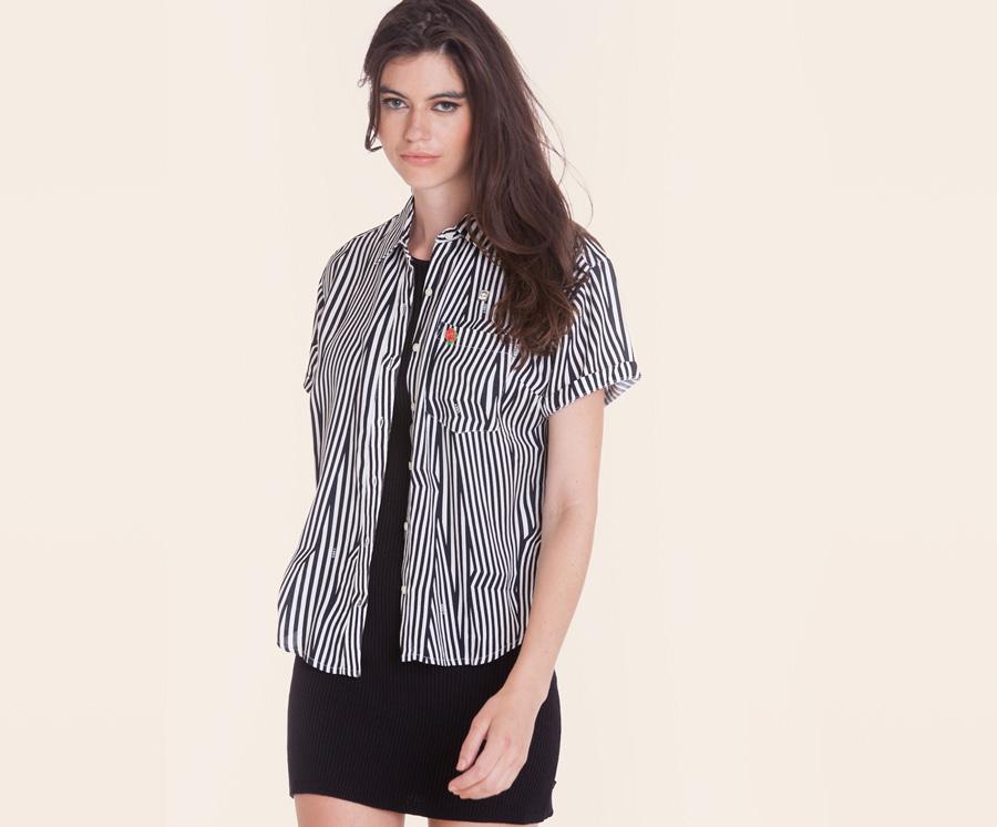 Obey — dámská bílo-černá košile, zebří pruhy — krátký rukáv — dámské oblečení — léto 2016