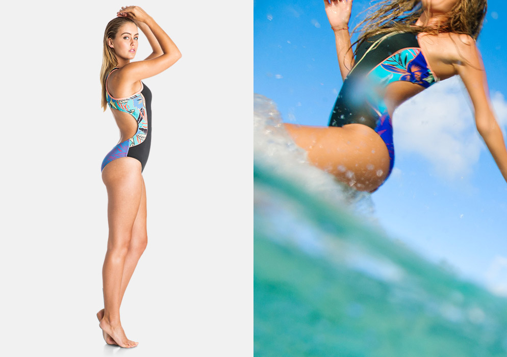 Roxy — dámské jednodílné plavky — surfařské — černo-modré, tropické motivy — Pop Surf 2016 — Polynesia One Piece — swimwear
