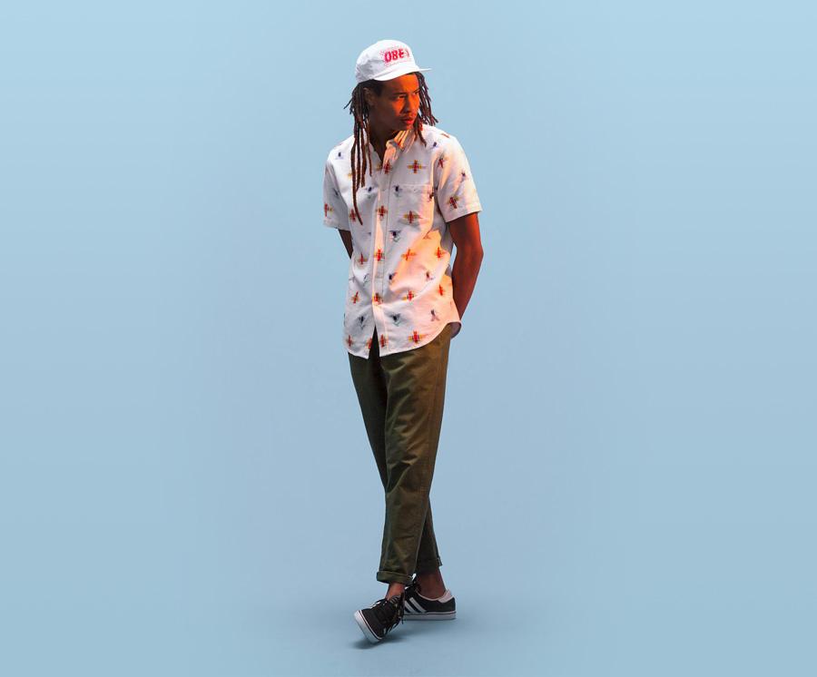 Obey — pánská bílá košile, barevně zdobená — pánské oblečení — léto 2016