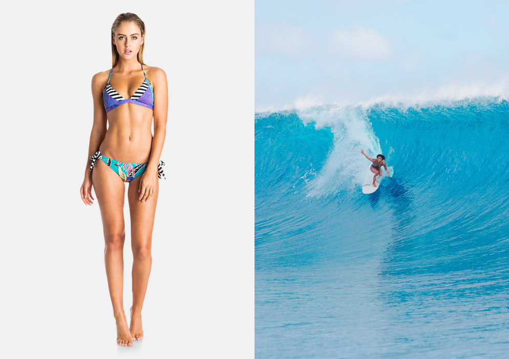 Roxy — dámské dvoudílné plavky — surfařské bikiny — modré, fialové, palmový motiv — Pop Surf 2016 — Polynesia Mix — swimwear