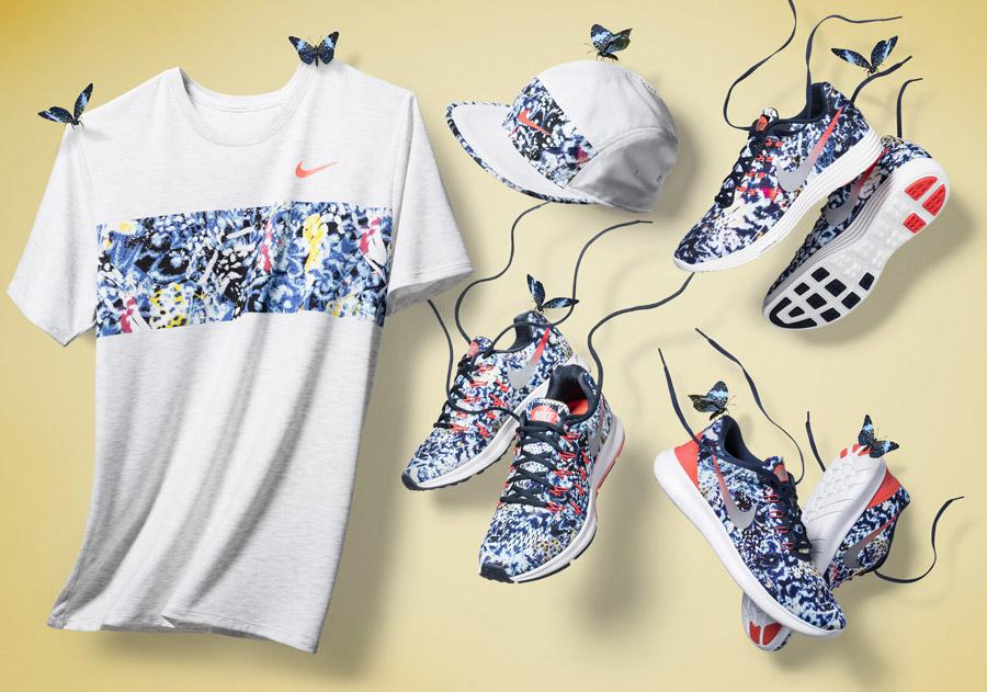 Nike Jungle Pack — běžecké oblečení, barevné — pánské běžecké boty, tričko, kšiltovka — sportovní oblečení