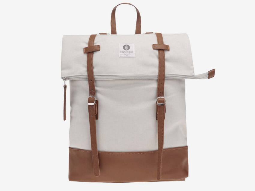 Ridgebake — plátěný batoh, rolovací, přehýbací — Mid Rolling — bílý, krémový