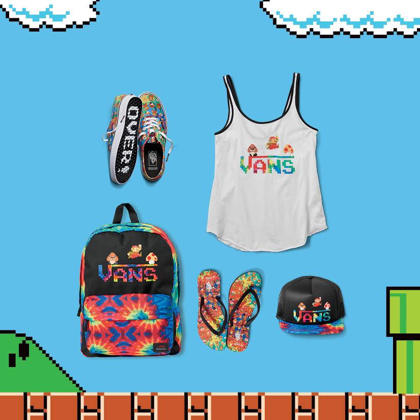 Vans x Nintendo — dámské oblečení a boty — tenisky Authentic, tílko, batoh, žabky, kšiltovka — Super Mario Bros — geek