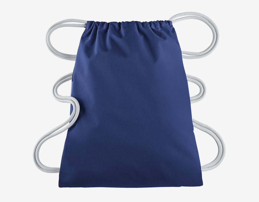Nike Heritage Gymsack — vak na záda se silnými popruhy — pytel — modrý s bílým potiskem — zadní strana