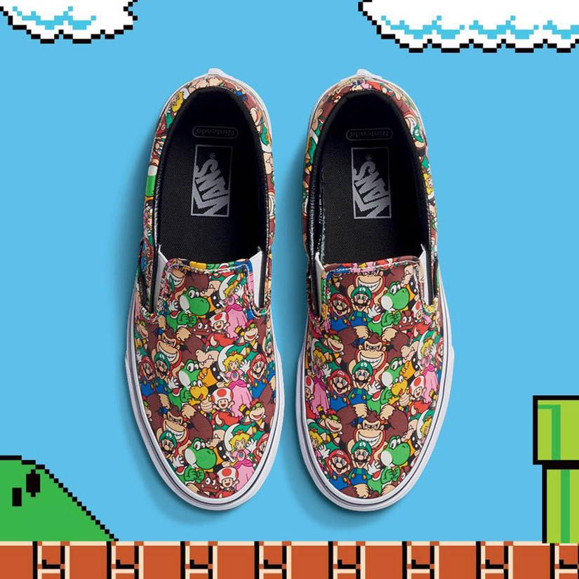 Vans x Nintendo — Classic Slip-On — dětské tenisky — Super Mario Bros — geek