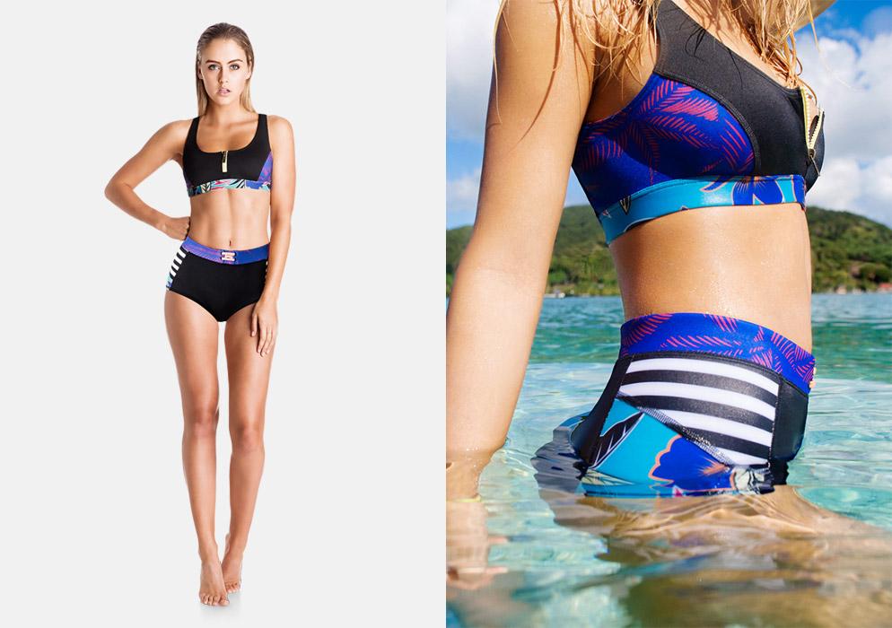 Roxy — dámské plavky s vysokým pasem, podprsenka se zipem — surfařské dvoudílné plavky — černé, tropické barevné motivy — Pop Surf 2016 — Polynesia Two Pieces — swimwear
