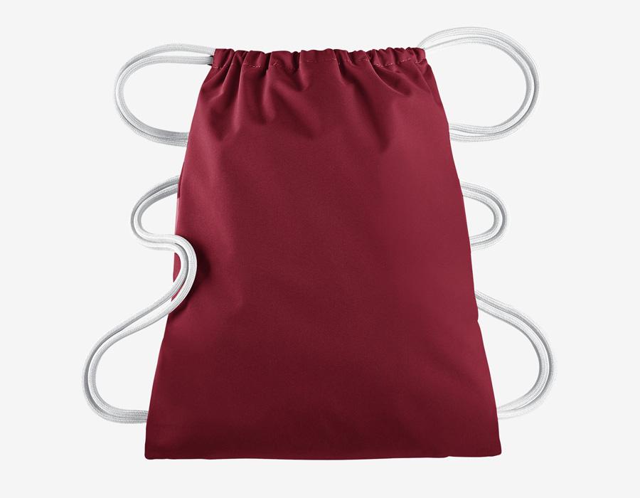 Nike Heritage Gymsack — vak na záda se silnými popruhy — pytel — červený s bílým potiskem — zadní strana