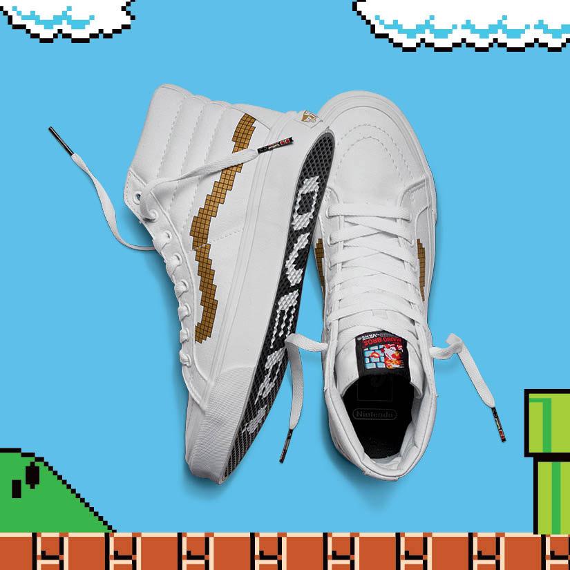 Vans x Nintendo — kotníkové tenisky Sk8-Hi Slim — bílé — dámské, pánské — geek