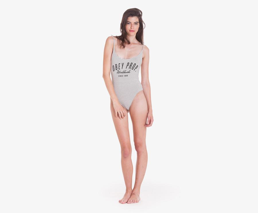 Obey — dámské body, proužkované — bílé, šedé — bodysuit — dámské oblečení — léto 2016