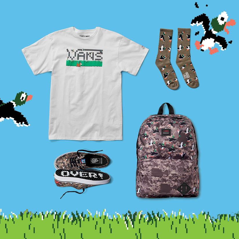 Vans x Nintendo — pánské a dámské oblečení — tričko, tenisky Authentic, batoh, ponožky — Duck Hunt — geek
