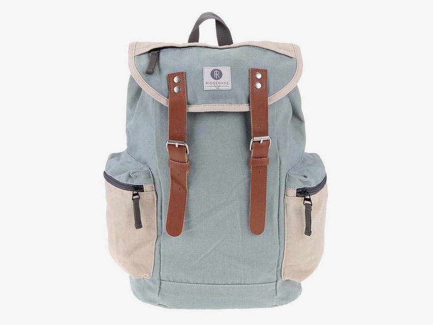 Ridgebake — plátěný retro batoh s kapsami na boku — Mid Liam — světle modrý, pastelový