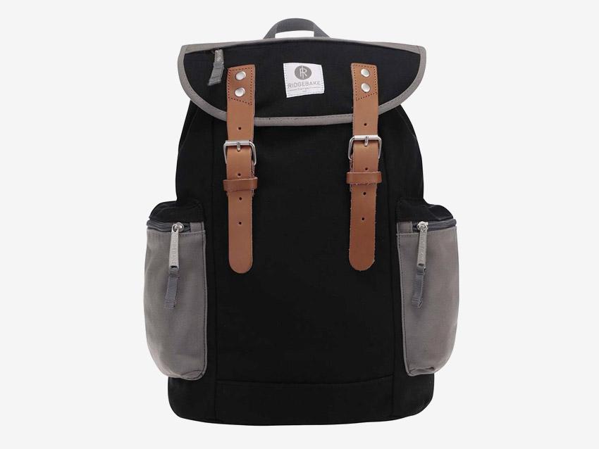 Ridgebake — plátěný retro batoh s kapsami na boku — Mid Liam — černý