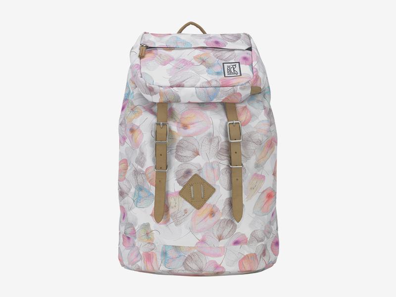 The Pack Society — batoh s přeskami na záda — bílý, barevný — s květinovým vzorem — Premium Backpack — levný batoh