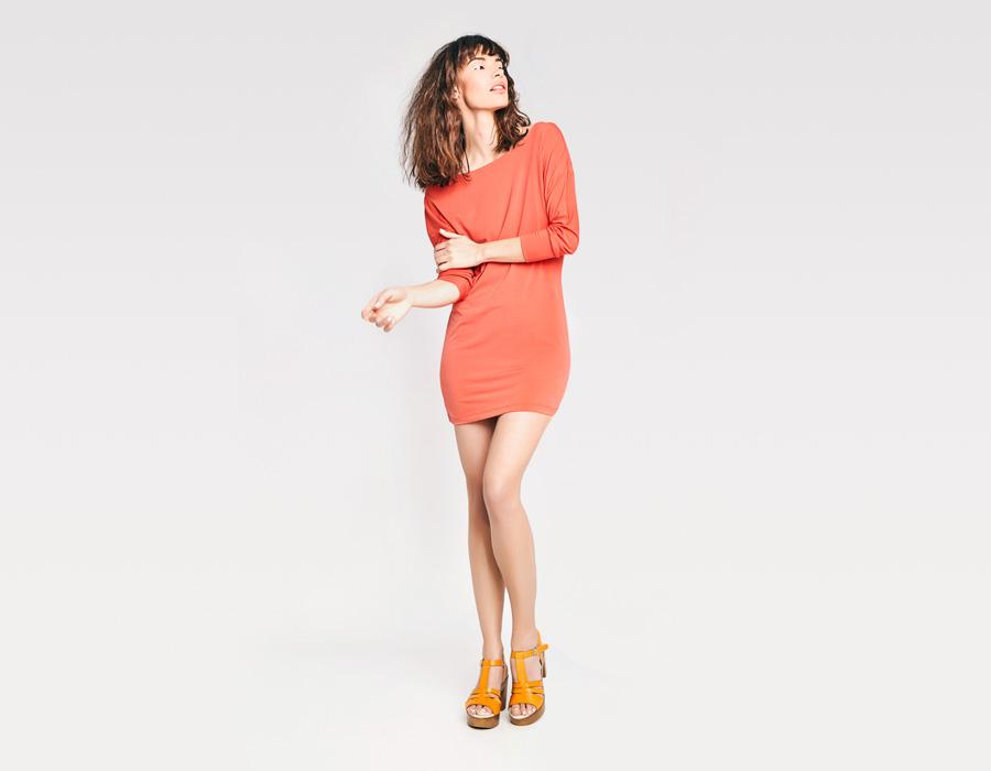 Alchymi — dámské letní šaty — pouzdrové s dlouhými rukávy — červené, oranžové — Salita