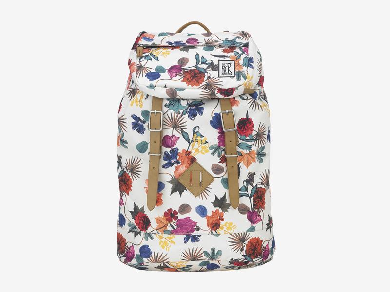 The Pack Society — batoh s řemeny na záda — bílý, barevný — s květinovým vzorem — Premium Backpack — levný batoh