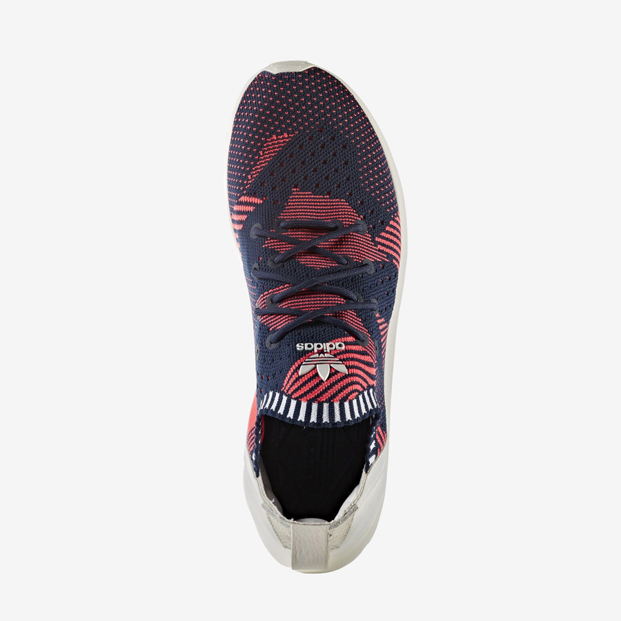 adidas Originals ZX Flux ADV Virtue — dámské boty, tenisky — červené, modré — horní pohled — adidas Primeknit — Slip On