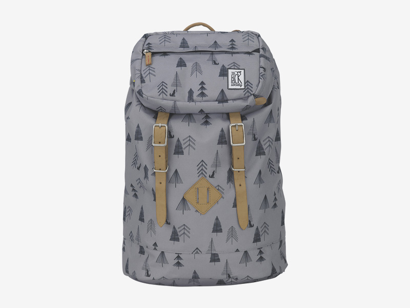 The Pack Society — batoh s řemeny na záda — šedý — symboly stromů, ilustrace — Premium Backpack — levný batoh