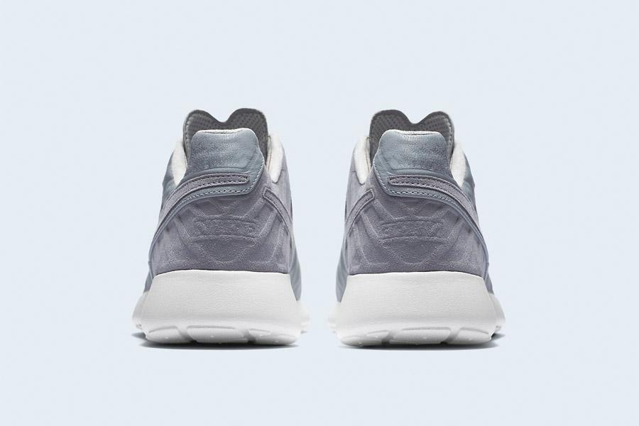Nike Roshe Tiempo VI QS — tenisky, kožené boty — pánské, dámské — šedé — zadní pohled