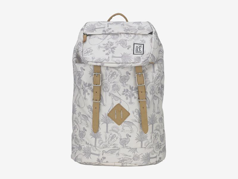 The Pack Society — batoh s řemeny na záda — smětanově bílý — pravěká fauna, flora, ilustrace — Premium Backpack — levný batoh