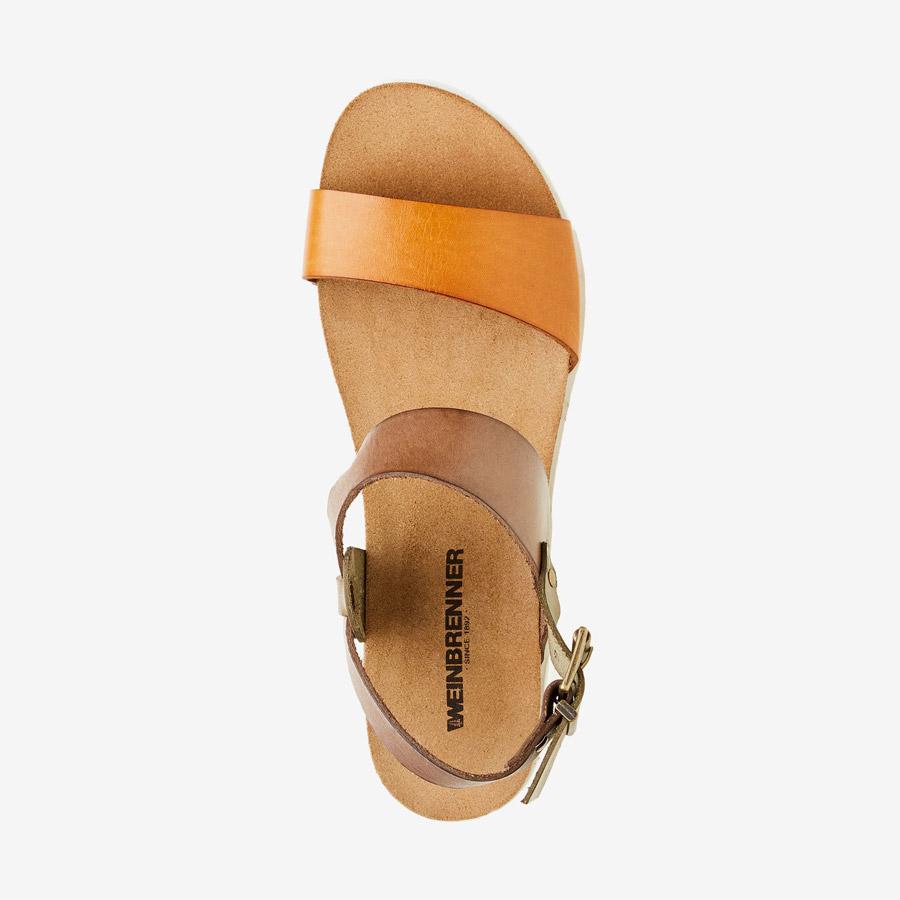 Weinbrenner — dámské sandály — kožené — světle a tmavě hnědý pásek — korková stélka, bílá podrážka — letní sandálky