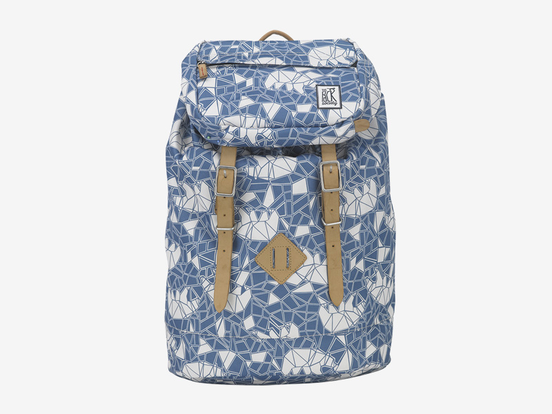 The Pack Society — batoh s řemeny na záda — modrý, bílý — s geometrickým vzorem — Premium Backpack — levný batoh