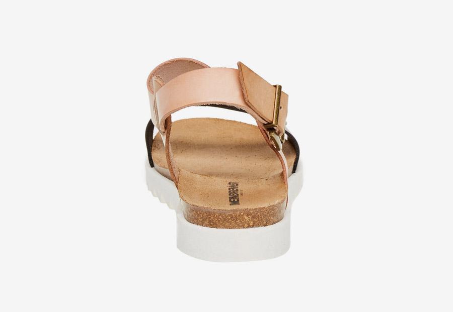 Weinbrenner — dámské sandály — kožené — černý a světle růžový pásek — korková stélka, bílá podrážka — letní sandálky
