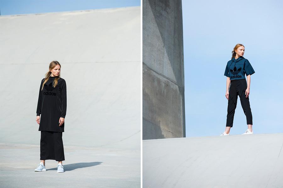 adidas Originals — Regista — černá dámská dlouhá mikina — dámská modrá mikina do pasu s kapucí — tříčtvrteční dámské kalhoty, černé — sportovní oblečení