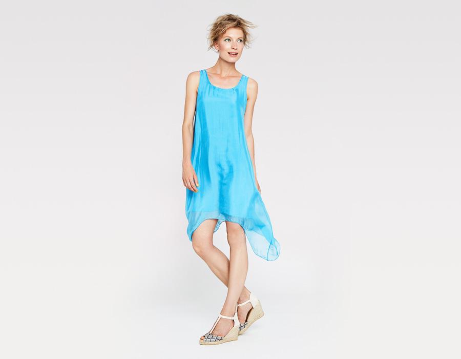 Alchymi — dámské letní šaty — volné, lehké, bez rukávů — tyrkysové, modré — Torenia