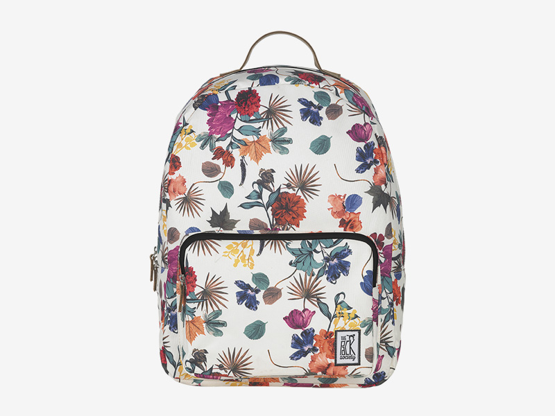 The Pack Society — batoh na záda — bílý, barevný — s květinovým vzorem — Classic Backpack — levný batoh