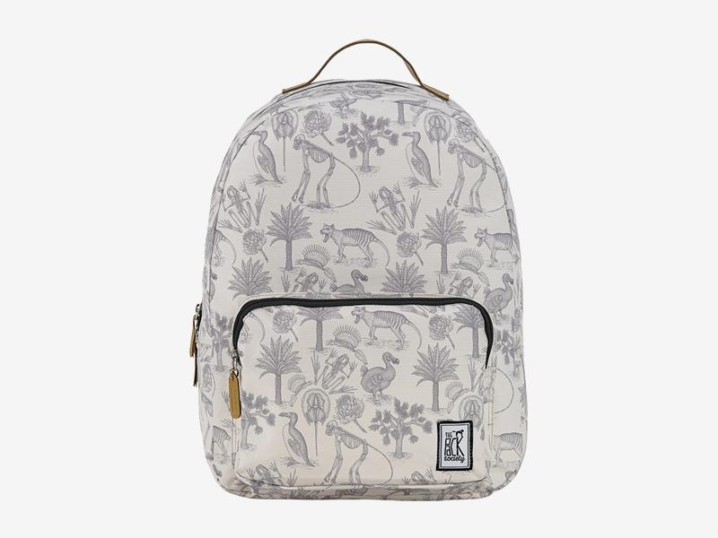 The Pack Society — batoh na záda — smětanově bílý — pravěká fauna, flora, ilustrace — Classic Backpack — levný batoh