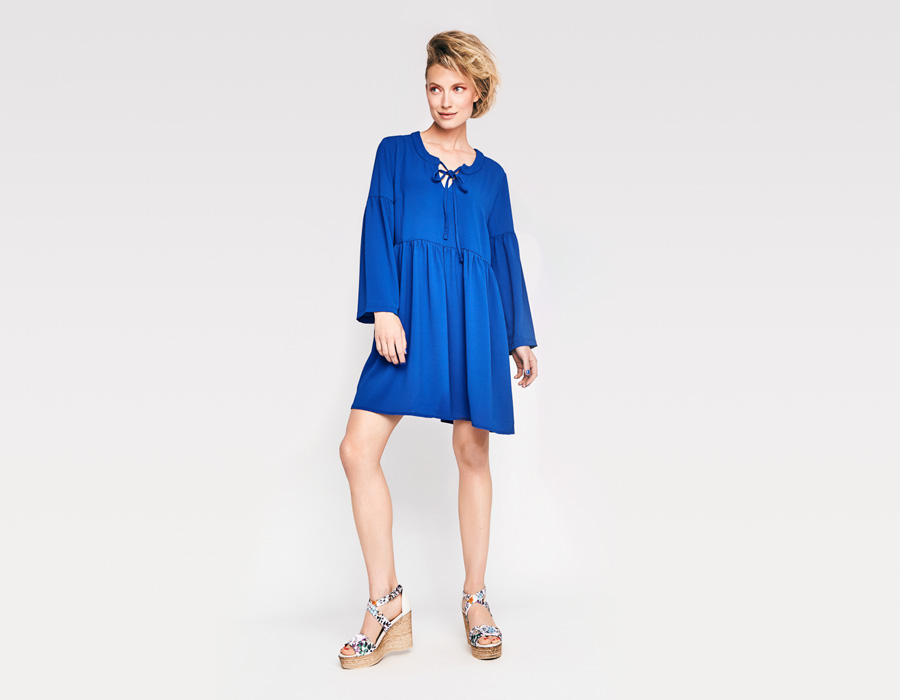 Alchymi — dámské letní šaty — s dlouhými rukávy, volné — modré — Moonstone