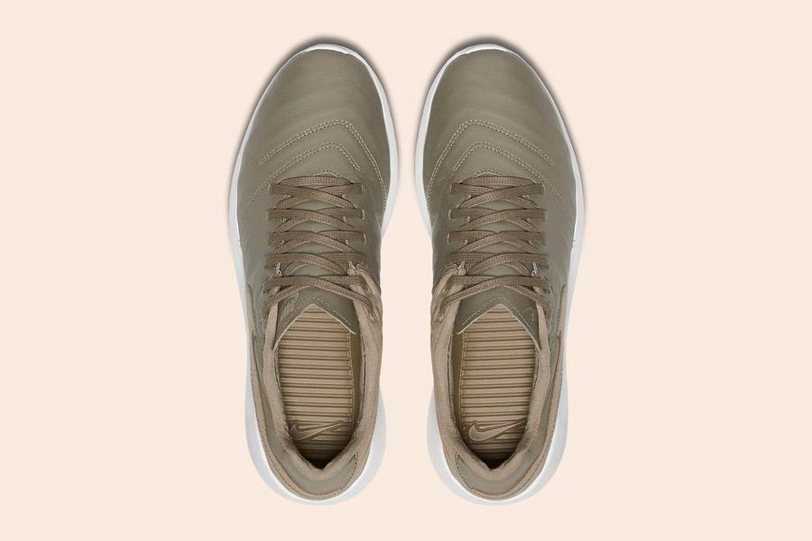 Nike Roshe Tiempo VI QS — tenisky, kožené boty — pánské, dámské — khaki, béžové, hnědé — horní pohled
