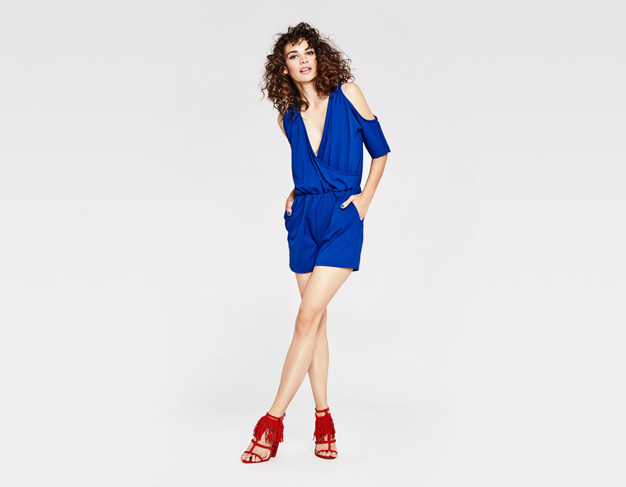 Alchymi — dámské letní šaty — modré — overal — průstřihy na ramenou