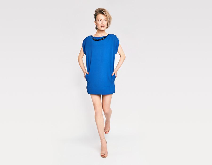 Alchymi — dámské letní šaty — s korálky u výstřihu — modré — Nemesia