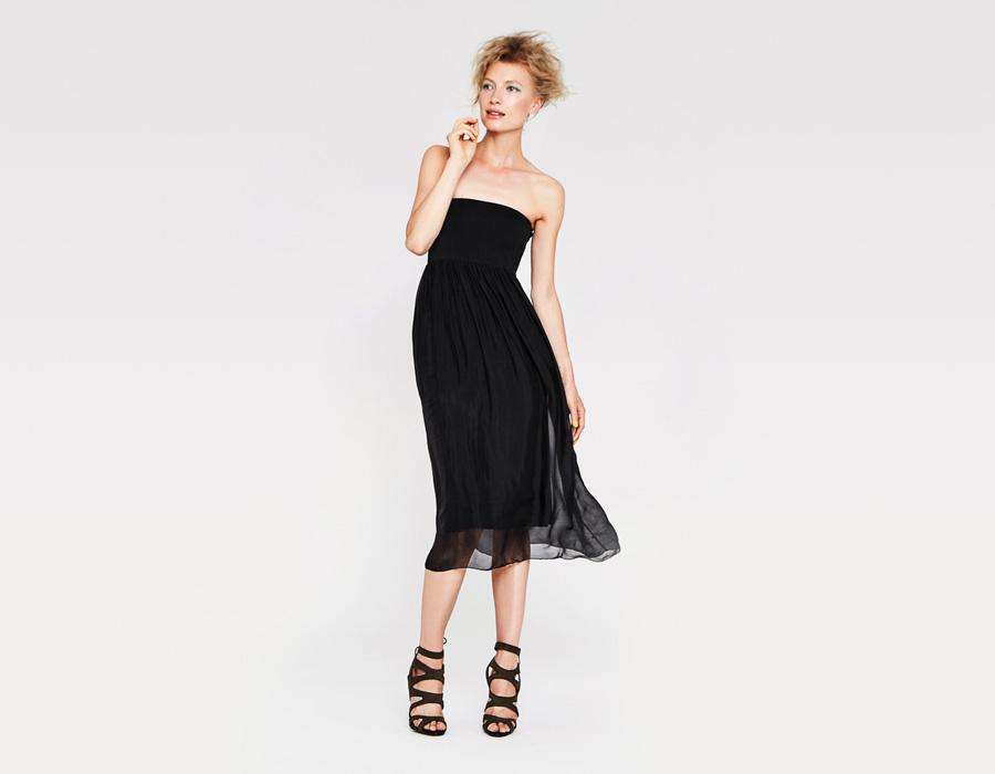 Alchymi — dámské letní šaty — bez ramínek, dlouhé — černé — Torenia