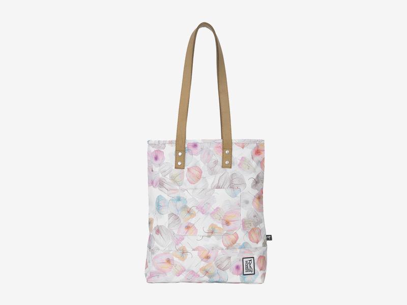 The Pack Society — nákupní taška přes rameno/do ruky — bílá, barevná — s květinovým vzorem — Shopper