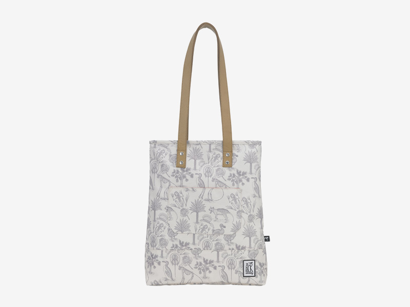 The Pack Society — nákupní taška přes rameno/do ruky — smětanově bílá — pravěká fauna, flora, ilustrace — Shopper