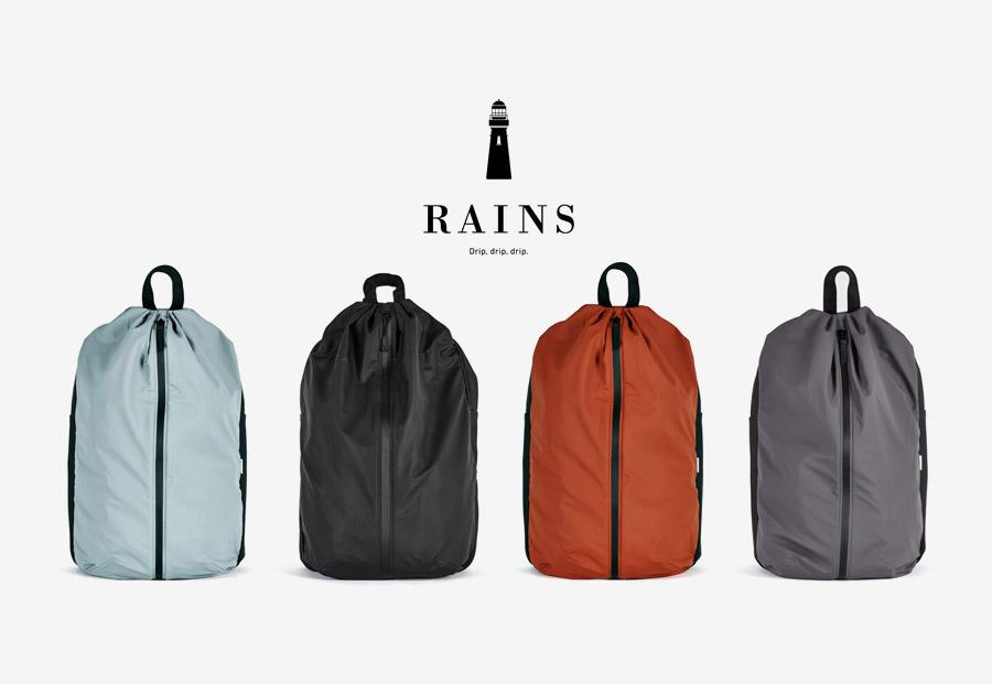 Nepromokavý batoh Rains Day Bag — světle modrý, černý, červený/oranžový, šedý
