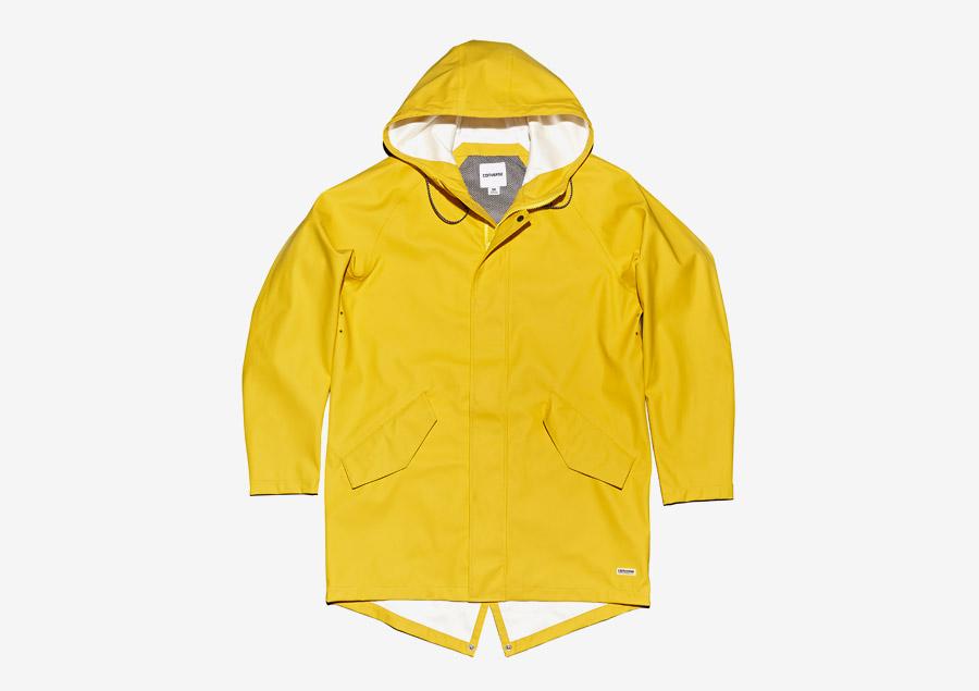 Converse Rubber Fishtail Jacket — fishtail parka, bunda s kapucí — voděodolná, nepromokavá — pogumovaná — pánská — žlutá, citrónová
