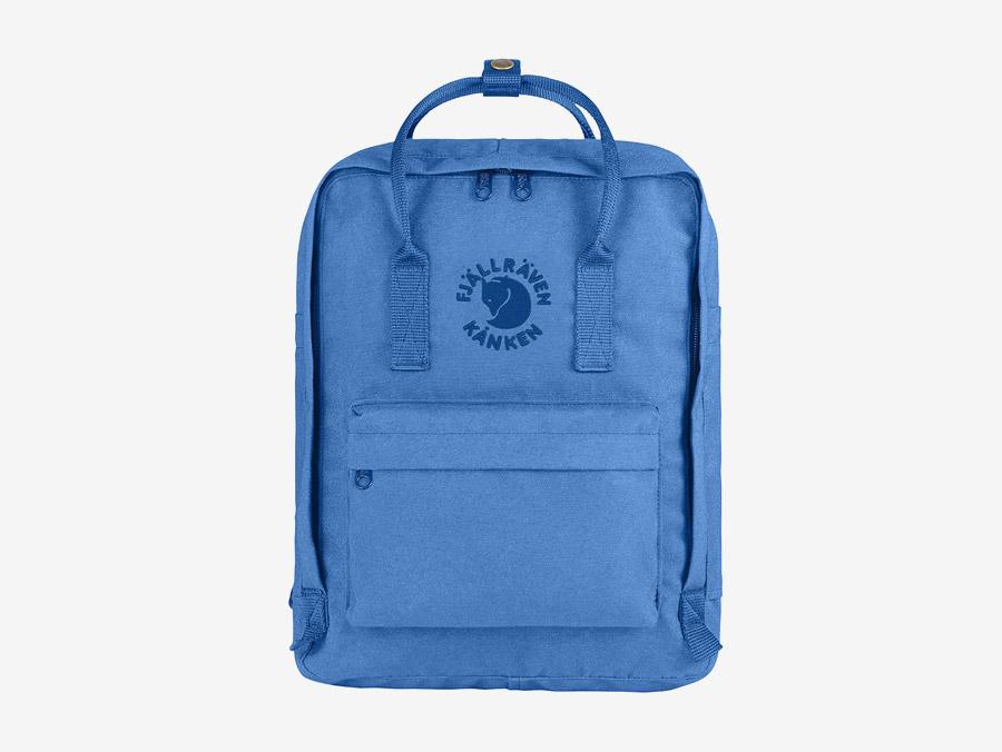 Fjällräven Re-Kånken — batoh — světle modrý — recyklovaný — školní batoh — plátěný