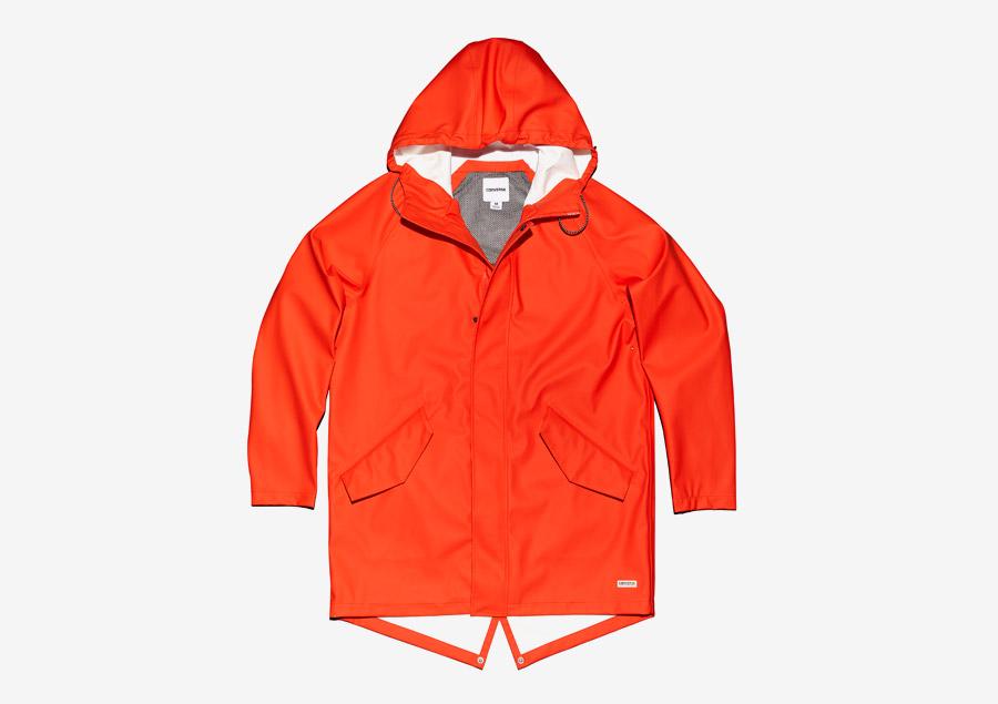 Converse Rubber Fishtail Jacket — fishtail parka, bunda s kapucí — voděodolná, nepromokavá — pogumovaná — pánská — křiklavě červená