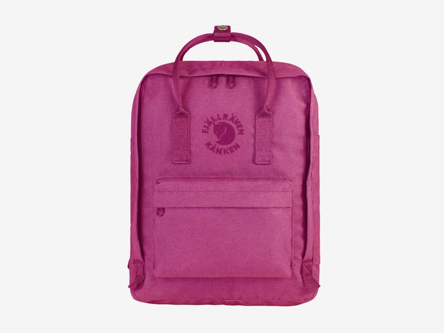 Fjällräven Re-Kånken — batoh — růžový — recyklovaný — školní batoh — plátěný