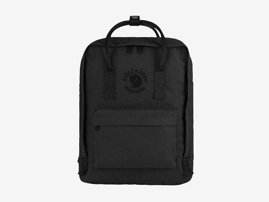 Fjällräven Re-Kånken — batoh — černý — recyklovaný — školní batoh — plátěný