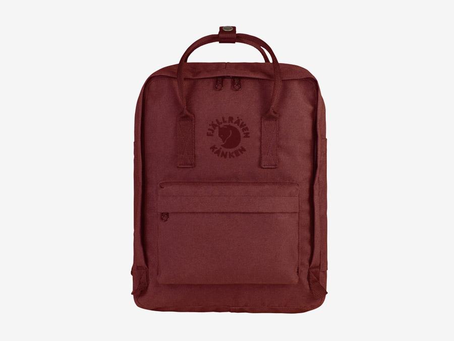 Fjällräven Re-Kånken — batoh — vínový, tmavě červený — recyklovaný — školní batoh — plátěný