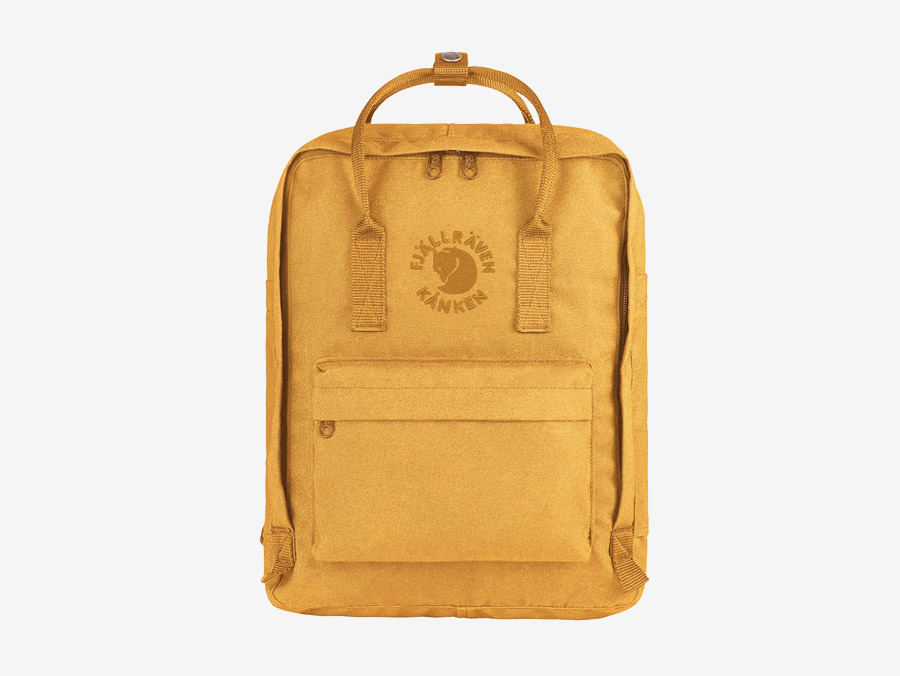 Fjällräven Re-Kånken — batoh — žlutý — recyklovaný — školní batoh — plátěný