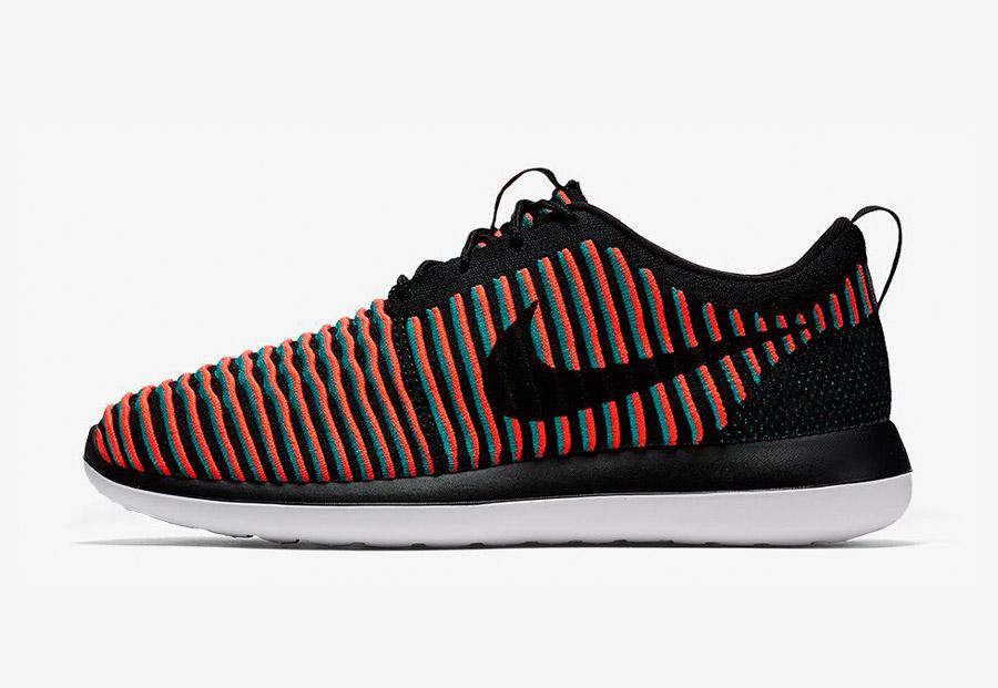 Nike Roshe Two Flyknit — boty — tenisky — sneakers — pánské — černé, modro-červené — Nike Roshe Run