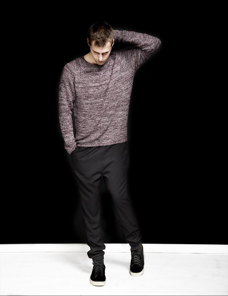 RVLT — Revolution — pánský svetr bez úpletu — pánské černé kalhoty joggers — podzim/zima 2016