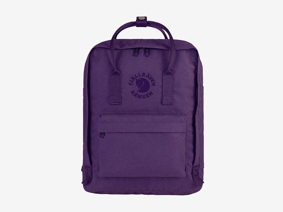 Fjällräven Re-Kånken — batoh — fialový — recyklovaný — školní batoh — plátěný