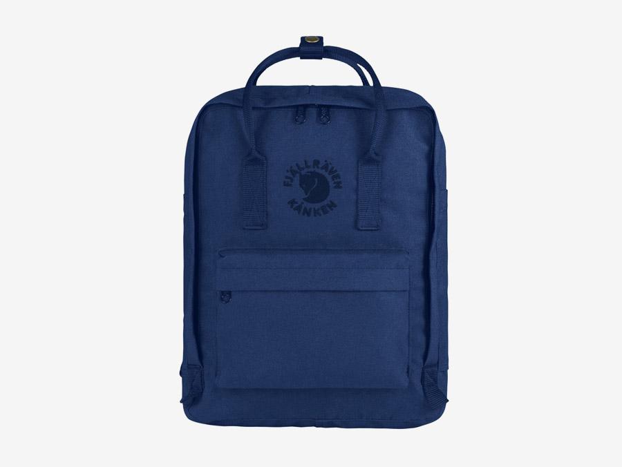 Fjällräven Re-Kånken — batoh — tmavě modrý — recyklovaný — školní batoh — plátěný
